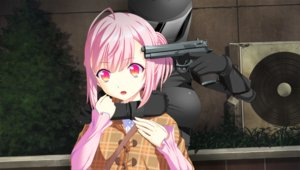 Rating: Questionable Score: 36 Tags: game_cg gun houjou_akito ichiha_nia pink_eyes pink_hair short_hair touhikou_game weapon yasuyuki User: Precursor