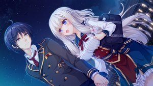 Rating: Safe Score: 31 Tags: aqua_eyes black_hair bow brown_eyes clouds dress flowers game_cg gray_hair kimihara_yua kousaka_tsubame long_hair male mikagami_mamizu night pieces/wataridori_no_somnium school_uniform short_hair sky stars tie whirlpool User: mattiasc02