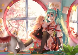 Rating: Safe Score: 112 Tags: blonde_hair cherry_blossoms dress food hatsune_miku ia kagamine_rin loli lu_(tabasa1991) thighhighs twintails vocaloid User: Maboroshi