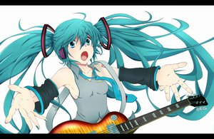 Rating: Safe Score: 22 Tags: guitar hatsune_miku instrument twintails vocaloid white User: SciFi