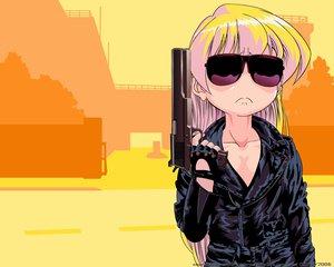 Rating: Safe Score: 5 Tags: gun pani_poni_dash rebecca_miyamoto sunglasses weapon User: Oyashiro-sama