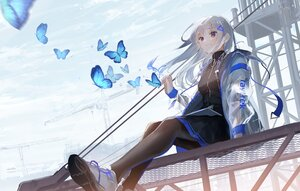 Rating: Safe Score: 73 Tags: butterfly clouds gray_hair long_hair original oyuyu pantyhose skirt sky User: BattlequeenYume