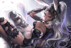Rating: Safe Score: 114 Tags: animal_ears armor breasts bunny_ears bunnygirl choker cleavage dark_skin final_fantasy final_fantasy_xii fran gray_hair headdress navel nipples red_eyes sakimichan see_through User: BattlequeenYume