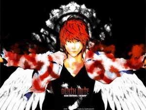 Rating: Safe Score: 4 Tags: all_male blood death_note feathers male red_hair wings yagami_light User: Oyashiro-sama