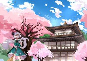 Rating: Safe Score: 50 Tags: building cherry_blossoms greetload konpaku_youmu myon touhou User: FormX