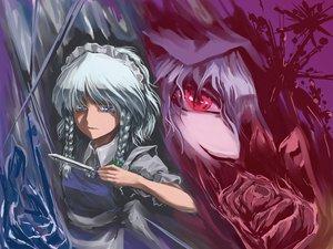 Rating: Safe Score: 40 Tags: 2girls blue_eyes blue_hair braids gray_hair headdress izayoi_sakuya knife maid red_eyes remilia_scarlet touhou vampire weapon User: Dust