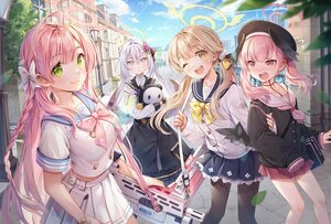 Rating: Safe Score: 32 Tags: azusa_(blue_archive) blonde_hair blue_archive bow braids brown_hair building clouds gray_hair green_eyes group gun halo hanako_(blue_archive) hat hifumi_(blue_archive) ika_(4801055) koharu_(blue_archive) leaves long_hair pantyhose pink_hair school_uniform skirt sky twintails weapon wings wink User: BattlequeenYume
