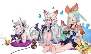 Rating: Safe Score: 45 Tags: animal_ears aqua_hair barefoot blush bukurote chain collar demon dress drink fire flat_chest food foxgirl game_console garter horns japanese_clothes ofuda original pointed_ears purple_eyes red_eyes sake shackles tail third-party_edit white white_hair wristwear yellow_eyes User: otaku_emmy