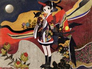 Rating: Safe Score: 42 Tags: black_eyes black_hair japanese_clothes moon okama User: Oyashiro-sama