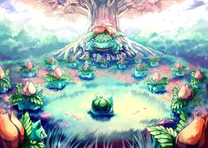 Rating: Safe Score: 80 Tags: bulbasaur cherry_blossoms flowers grass ivysaur pokemon sa-dui tree venusaur User: Mhand16