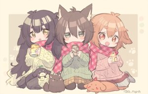 Rating: Safe Score: 37 Tags: animal animal_ears aruya blush brown_eyes brown_hair cat chibi dog green_eyes long_hair original scarf short_hair sketch skirt watermark User: Maboroshi