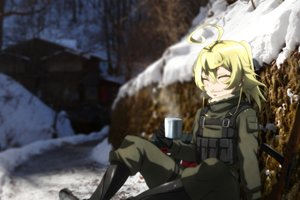 Rating: Safe Score: 2 Tags: blonde_hair boots drink genya67 gloves military short_hair tanya_degurechaff weapon youjo_senki User: RyuZU