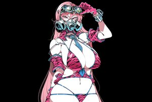 Rating: Safe Score: 58 Tags: aliasing bikini black breasts cleavage gloves goggles kafun long_hair mask navel original pink_eyes pink_hair shackles swimsuit tie wristwear User: otaku_emmy