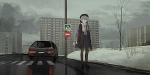Rating: Safe Score: 78 Tags: building car chihuri405 city clouds dark drink eve_(chihuri) eyepatch gloves gray_eyes gray_hair hat long_hair original pantyhose polychromatic scarf skirt sky snow winter User: ssagwp