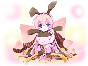 Rating: Safe Score: 52 Tags: blue_eyes boots bunny candy chocolate haru_aki loli megurine_luka pink_hair vocaloid User: HawthorneKitty