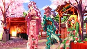 Rating: Safe Score: 110 Tags: cherry_blossoms flowers ganaha_hibiki hoshii_miki idolmaster japanese_clothes kimono nazu-na petals shijou_takane User: opai