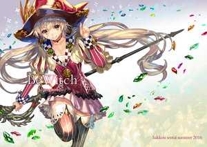 Rating: Safe Score: 43 Tags: blonde_hair breasts choker cleavage hat long_hair orange_eyes original ran'ou_(tamago_no_kimi) staff thighhighs watermark witch witch_hat User: FormX