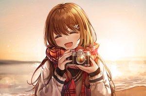Rating: Safe Score: 61 Tags: beach blush brown_hair camera connie_(keean2019) long_hair original scarf sunset water User: RyuZU
