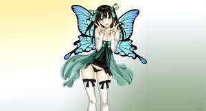 Rating: Safe Score: 265 Tags: aqua_eyes black_hair bow butterfly cleavage long_hair panties taka_tony thighhighs underwear vector wings User: gnarf1975