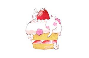 Rating: Safe Score: 9 Tags: animal cake cat flowers food fruit hakuchizu_(jedo) nobody original polychromatic signed strawberry watermark white User: otaku_emmy