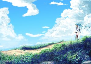 Rating: Safe Score: 221 Tags: aqua_eyes aqua_hair bicycle clouds grass hatsune_miku hopper landscape long_hair scenic skirt sky thighhighs twintails vocaloid water User: Flandre93