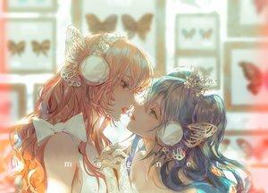 Rating: Safe Score: 50 Tags: 2girls blue_hair butterfly close hatsune_miku headphones kiss long_hair magnet_(vocaloid) megurine_luka pink_hair say_hana shoujo_ai vocaloid User: FormX