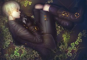 Rating: Safe Score: 36 Tags: all_male boots gloves gray_hair leaves male nier:_automata short_hair shorts sleeping tagme_(artist) yorha_unit_no._9_type_s User: zoobezee