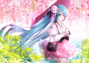 Rating: Safe Score: 32 Tags: ajigo aqua_eyes aqua_hair bow cherry_blossoms dress hatsune_miku long_hair melt_(vocaloid) rain twintails umbrella vocaloid water User: BattlequeenYume
