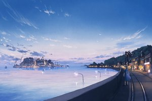 Rating: Safe Score: 64 Tags: building city clouds dress hat industrial original pochi_(poti1990) ponytail scenic sky sunset train water User: FormX