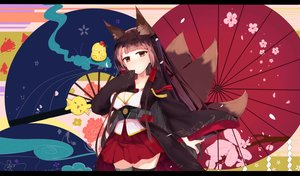 Rating: Safe Score: 92 Tags: akagi_(azur_lane) animal_ears anthropomorphism azur_lane breasts brown_hair cleavage flowers foxgirl japanese_clothes multiple_tails red_eyes skirt tagme_(artist) tail thighhighs User: BattlequeenYume