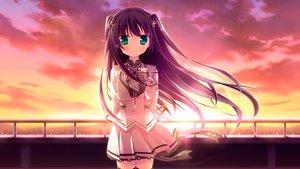 Rating: Safe Score: 84 Tags: chuablesoft game_cg green_eyes hatori_piyoko long_hair purple_hair seifuku skirt sumeragi_rinne sunset thighhighs zannen_na_oretachi_no_seishun_jijou. User: Wiresetc