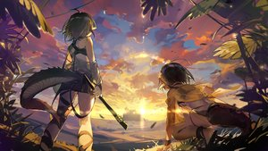 Rating: Safe Score: 66 Tags: 2girls arknights clouds eunectes_(arknights) game_cg gavial_(arknights) green_hair pointed_ears short_hair sky sunset tagme_(artist) tail water User: Nepcoheart