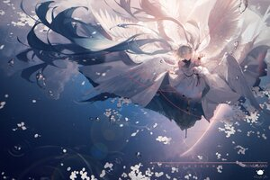 Rating: Safe Score: 50 Tags: dress green_hair hatsune_miku long_hair rainbow reflection signed sky spencer_sais stars twintails vocaloid water watermark wings User: BattlequeenYume