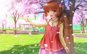 Rating: Safe Score: 30 Tags: brown_hair card_captor_sakura flowers green_eyes kinomoto_sakura loli moonknives necklace short_hair skirt User: gnarf1975