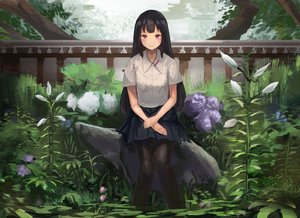 Rating: Safe Score: 36 Tags: black_hair fjsmu flowers long_hair original pantyhose purple_eyes skirt User: RyuZU