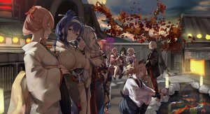 Rating: Safe Score: 56 Tags: animal anthropomorphism blue_hair breasts building cat cleavage dp-12_(girls_frontline) fan fish food girls_frontline gray_hair group headband japanese_clothes pink_hair sakippo_(sakippo0) signed tabuk_(girls_frontline) tagme_(character) taiyaki water User: BattlequeenYume