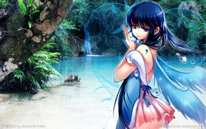 Rating: Safe Score: 38 Tags: black_hair blue_eyes dmyo forest tree water watermark wings User: chupachups5576