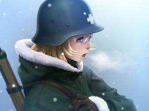 Rating: Safe Score: 32 Tags: aqua_eyes blonde_hair fool_(fuckinfool) gloves gun hat military short_hair shoujo_shuumatsu_ryoukou snow uniform weapon yuuri User: RyuZU
