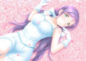 Rating: Safe Score: 74 Tags: aqua_eyes blush bow ckst dress gloves long_hair love_live!_school_idol_project petals purple_hair toujou_nozomi twintails User: FormX