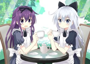 Rating: Safe Score: 123 Tags: 2girls akatsuki_(kancolle) anthropomorphism apron blush bow drink dust_(nanafushi_shouten) hibiki_(kancolle) kantai_collection long_hair maid ribbons User: Flandre93