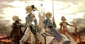 Rating: Safe Score: 200 Tags: armor as109 blonde_hair braids dress fate/stay_night green_eyes group ponytail saber saber_alter saber_extra saber_lily short_hair sword weapon yellow_eyes User: Tensa