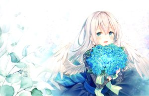 Rating: Safe Score: 126 Tags: aqua_eyes blonde_hair bow dress feathers flowers leaves long_hair original ribbons scan toosaka_asagi wings User: otaku_emmy