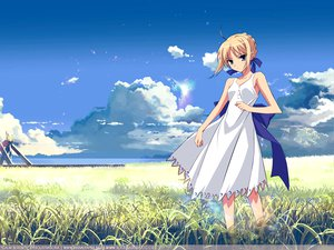 Rating: Safe Score: 49 Tags: fate/stay_night saber sky summer_dress User: 秀悟