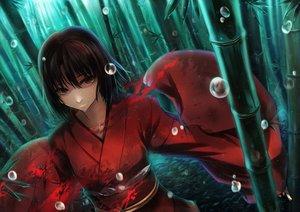 Rating: Safe Score: 124 Tags: black_hair blood brown_eyes japanese_clothes kara_no_kyoukai kimono rain ryougi_shiki short_hair todee tree water wet User: FormX