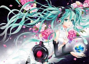 Rating: Safe Score: 81 Tags: aqua_eyes aqua_hair cocoon earth flowers hatsune_miku miku_append petals planet space stars twintails vocaloid User: HawthorneKitty