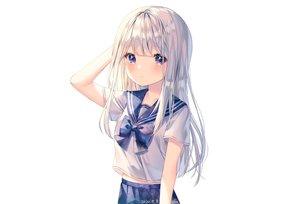 Rating: Safe Score: 74 Tags: albinoraccoon blush gray_hair long_hair original purple_eyes school_uniform signed skirt stars white User: otaku_emmy