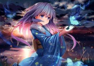 Rating: Safe Score: 53 Tags: anthropomorphism butterfly clouds grass japanese_clothes kimono long_hair magic purple_eyes purple_hair sky sunset water xiaoyin_li yukikaze_(zhanjian_shaonu) zhanjian_shaonu User: BattlequeenYume