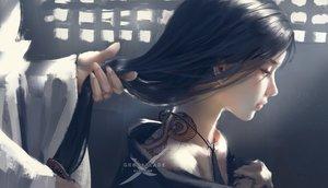 Rating: Safe Score: 181 Tags: black_hair ghostblade jade_(ghostblade) jpeg_artifacts logo long_hair necklace pink_eyes tattoo watermark wlop User: RyuZU