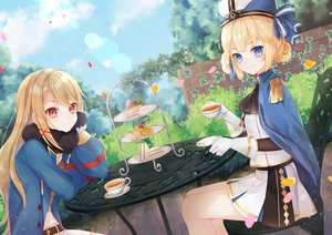 Rating: Safe Score: 42 Tags: 2girls anthropomorphism aqua_eyes azur_lane blonde_hair drink food gloves hardy_(azur_lane) hat hunter_(azur_lane) long_hair ougi_(u_to4410) skirt User: BattlequeenYume