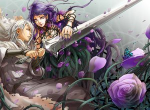 Rating: Safe Score: 17 Tags: butterfly cape flowers gray_eyes long_hair male purple_eyes purple_hair rose short_hair sword tagme_(artist) watermark weapon white_hair User: BattlequeenYume
